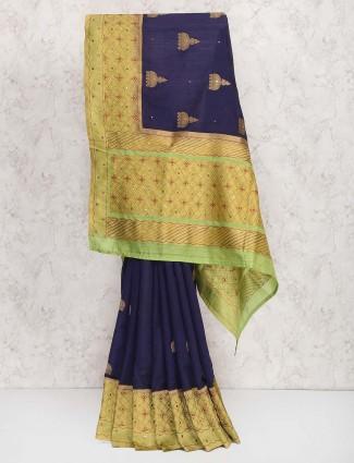 Navy hue semi silk fabric sari