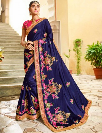 Navy hue semi silk festive saree for party