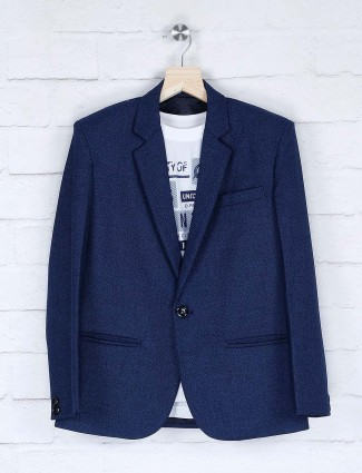 Navy hue solid terry rayon fabric blazer