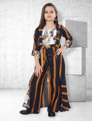Navy hue stripe pattern indo western salwar suit