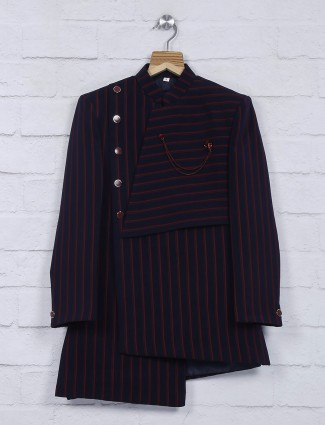 Navy hue stripe pattern terry rayon indo western