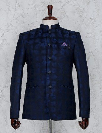 Navy hue terry rayon fabric stand collar jodhpuri
