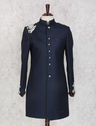 Navy hue terry rayon indo western