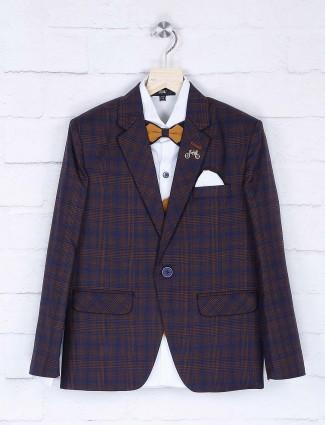 Navy hue tweed pattern boys coat suit