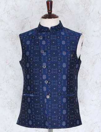 Navy hued cotton fabric waistcoat