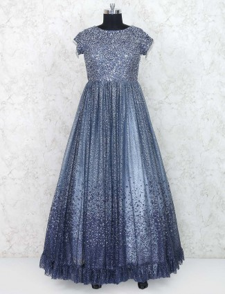 Navy hued designer floor length gown