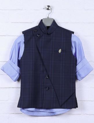 Navy hued designer tweed pattern waistcoat