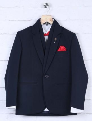 Navy hued solid designer party wear coat suit