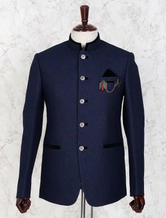 Navy hued terry rayon solid jodhpuri blazer