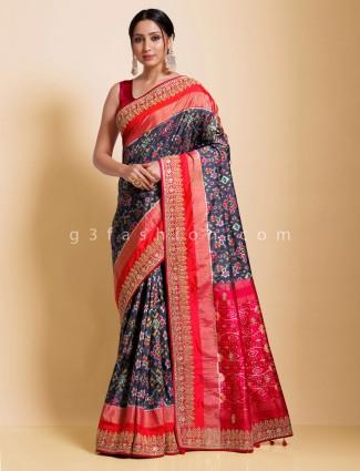 Navy hydrabadi patola silk thread stone dacked pallu saree