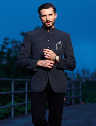 Navy jodhpuri suit in attractive terry rayon fabric