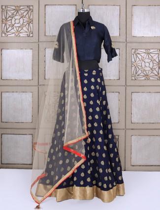 Navy lehenga choli in silk fabric