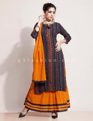 Navy lehenga style printed kurti set in cotton