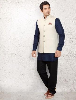 Navy linen waistcoat set