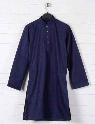 Navy lucknowi thread woven boys cotton kurta suit