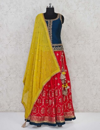 Navy magenta raw silk lehenga choli in peplum style