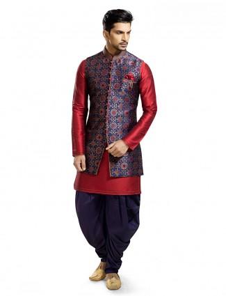 Navy maroon designer raw silk waistcoat set