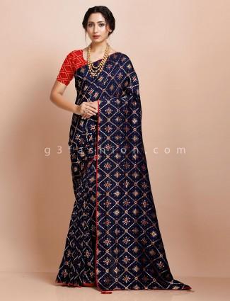 Navy muga silk festive occasion designer saree