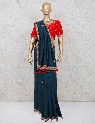 Navy muga silk readymade blouse saree