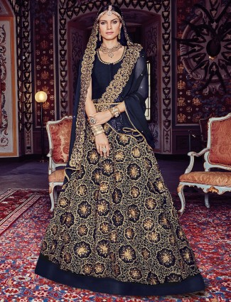 Navy net wedding anarkali suit