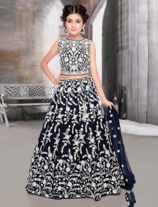 Navy net wedding wear designer lehenga choli