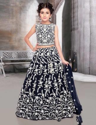 Navy net wedding wear designer lehenga choli