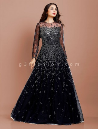 Navy party occasion round neck gown