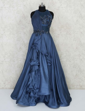Navy party wear designer floor length satin gown
