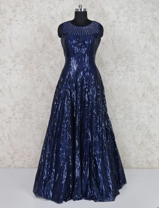 Navy party wear net fabric floor length gown