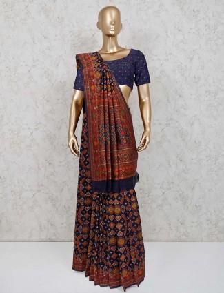 Navy patola silk wedding function saree