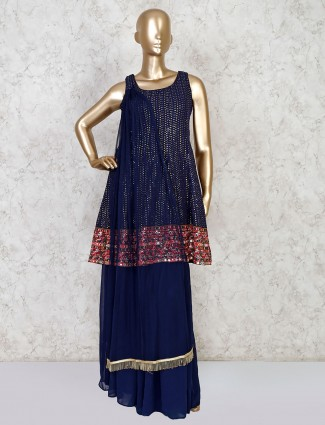 Navy georgette peplum sharara suit for party