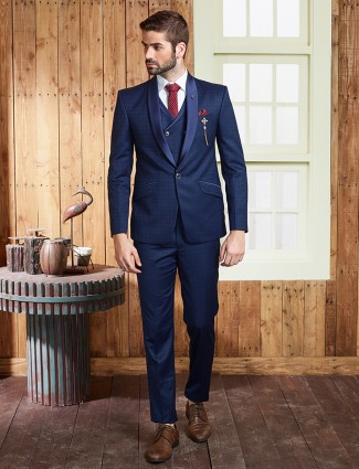 Navy plain classic coat suit in terry rayon fabric