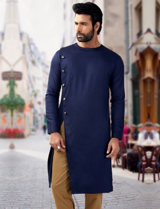 Navy plain designer silk short pathani kurta