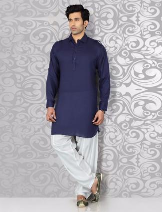 Navy plain festive wear pathani suit