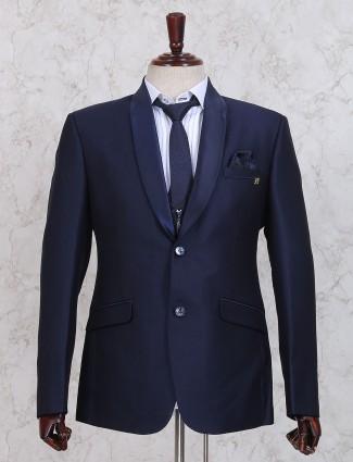 Navy plain party coat suit