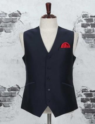 Navy plain terry rayon festive waistcoat