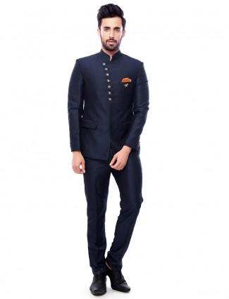 Navy plain terry rayon jodhpuri suit