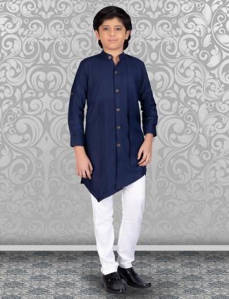 Navy pleat design solid cotton kurta suit