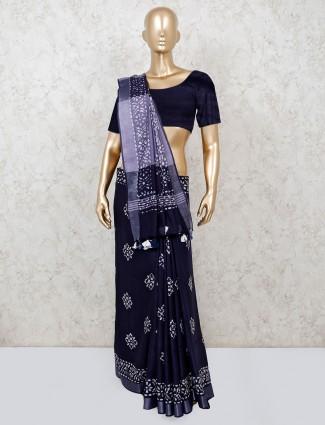 Navy prettify printed cotton saree