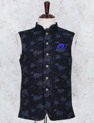 Navy printed cotton jute fabric waistcoat