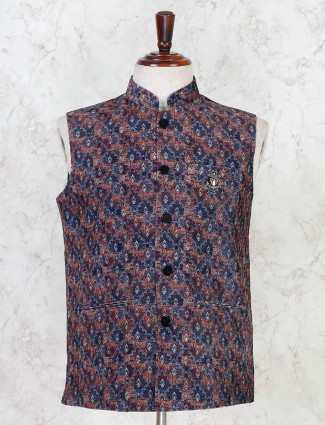 Navy printed cotton silk waistcoat party wear