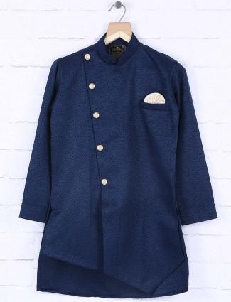 Navy printed indo western style kurta suit