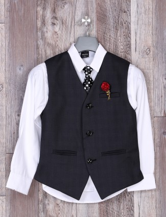 Navy printed party wear boys waistcoat