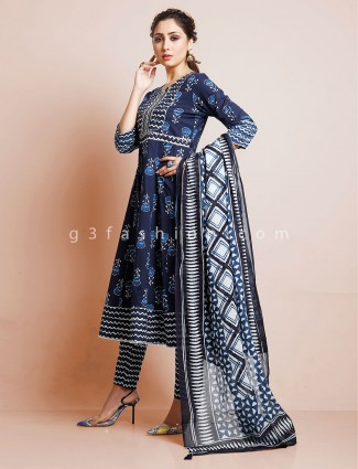Navy punjabi printed style pant suit in cotton
