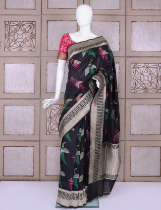 Navy pure banarasi silk fabric saree