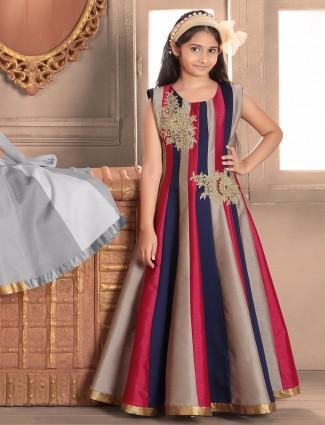 Navy raw silk gown
