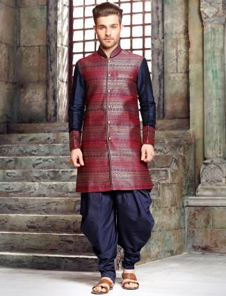 Navy raw silk kurta suit
