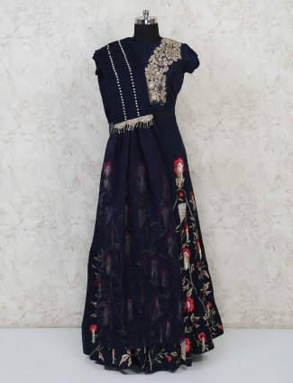 Navy raw silk party wear lehenga choli