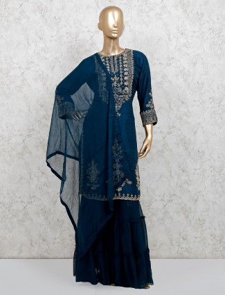 Navy raw silk party wear punjabi sharara suit
