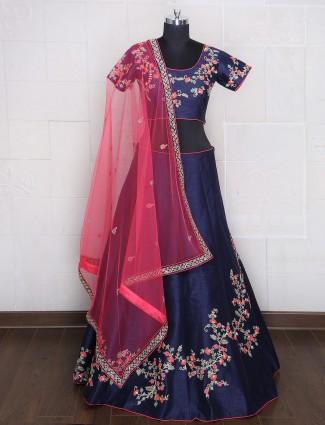 Navy raw silk wedding wear lehenga choli